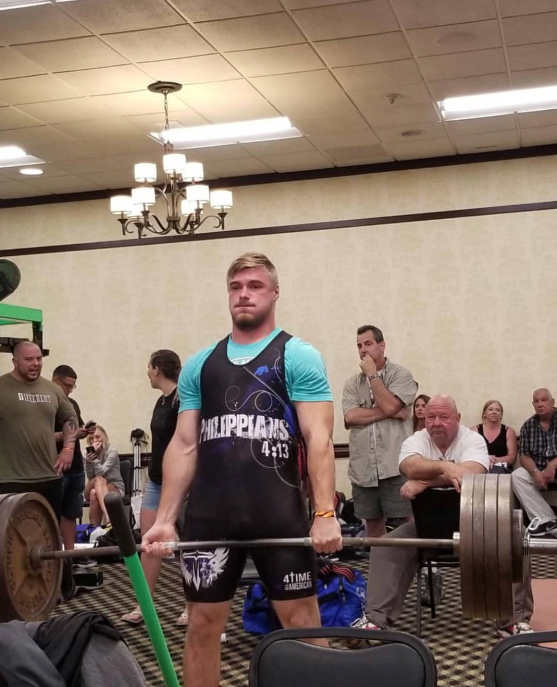 Senior Noah Strine pulls 515 pounds in his state record deadlift. On that day, Strine also set a world bench press record for his age.