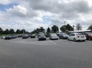 The Dallastown High School parking lot towards the end of the school day.
