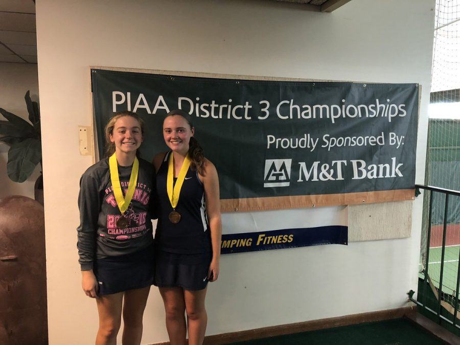 Meghan Salaga and Morgan Kistler took fourth place in this year's District Doubles Tournament.