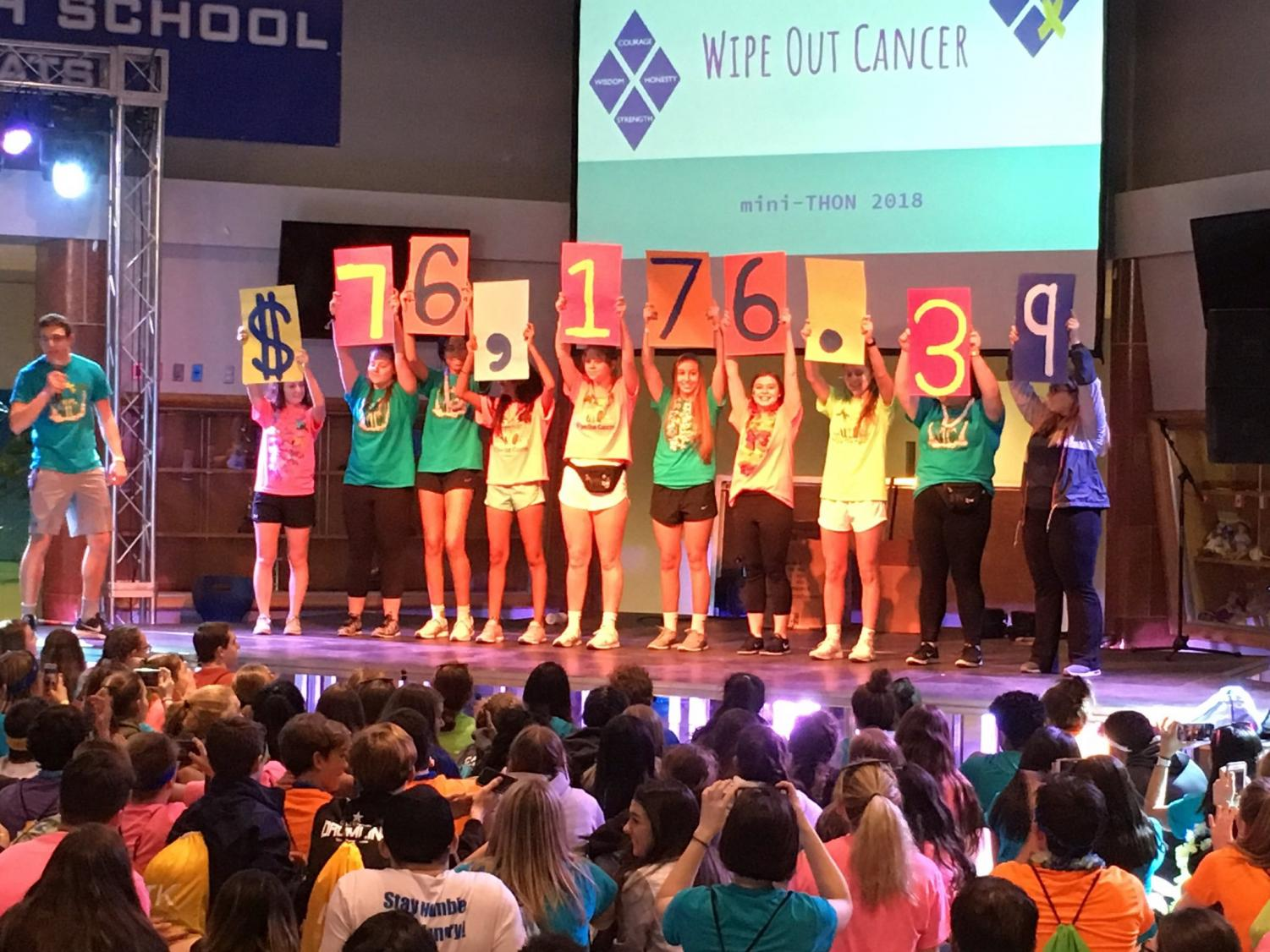 After 12 hours of activities, food, fun, and of course, standing, the committee chairs reveal the total amount raised FTK. This year, mini-THON hopes to raise at least $75,000 for the Four Diamonds Foundation. Fundraisers are held throughout the year in addition to the participants individual fundraising to help reach the goal. Photo submitted
