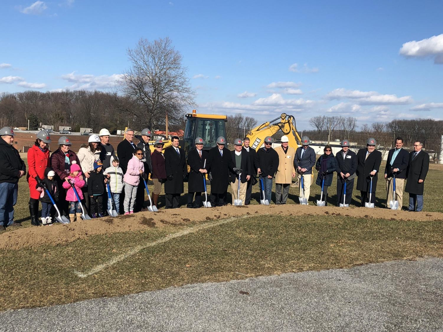 Students and staff from Loganville Springfield get ready to break ground for the new renovations.