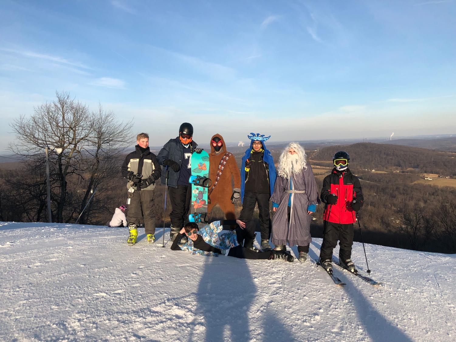 Dallastown sophomores decided to dress up in costume for ski club to finish off the season. This photo was taken from the top of Gunbarrel, a double black diamond, on February 28th.