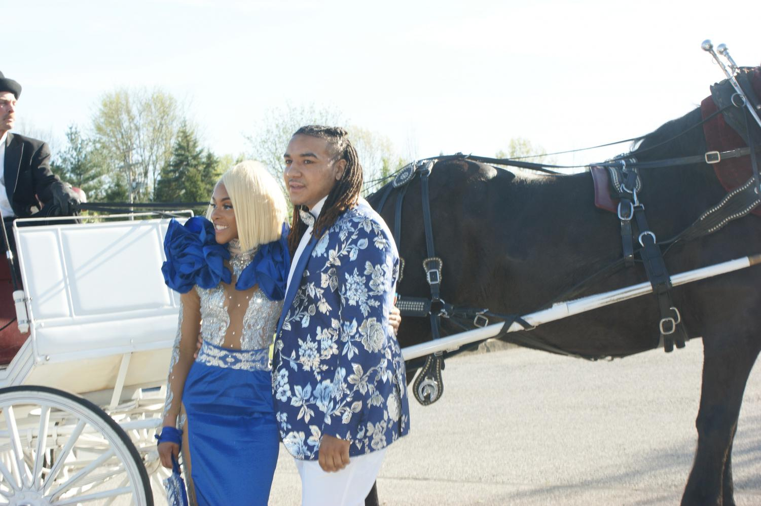 Anaiyah Morgan and Cole Ford arrived at Dallastown prom in a horse drawn carriage. The two showed off perfectly coordinated style as they made their way into Wisehaven Event Center for Dallastown Prom on Saturday, April 27, 2019.