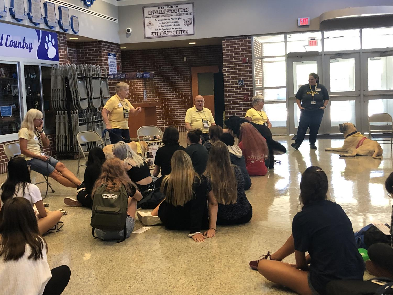 One of the optional sessions at the pullout day for freshman was learning about therapy dogs in the back gym lobby.