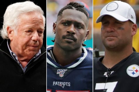 Antonio Brown was recently at the center of league-wide controversy beginning with arguments with Pittsburgh Steelers quarterback Ben Roethlisberger (right) and ending when New England Patriots owner Robert Kraft (left) released him.