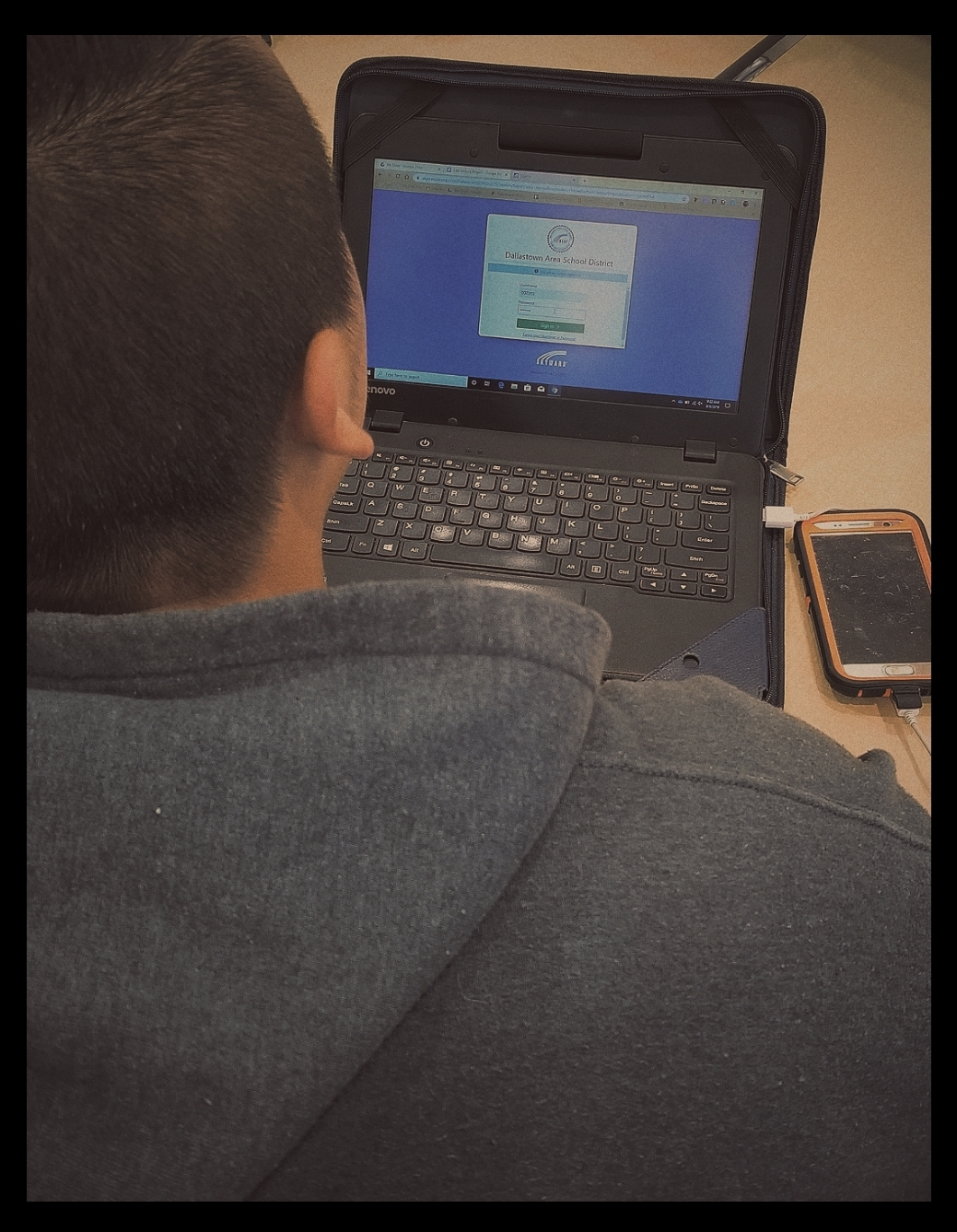 Dallastown student Juan Morales logs into Skyward for the very first time to check his grades and test results.