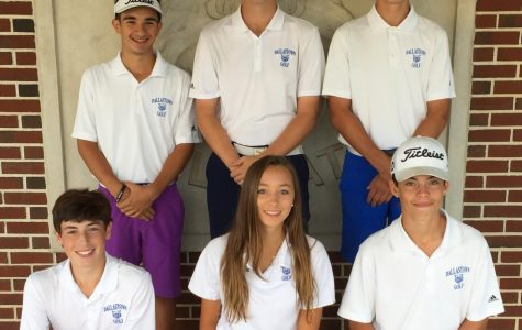 Members of the golf team take a quick snapshot before leaving for the YAIAA tournament. Standing: Michael DeRose, Owen Brown, Brock Altland. Kneeling: Bobby Nicholson, Makensy Knaub, Brady Altland.