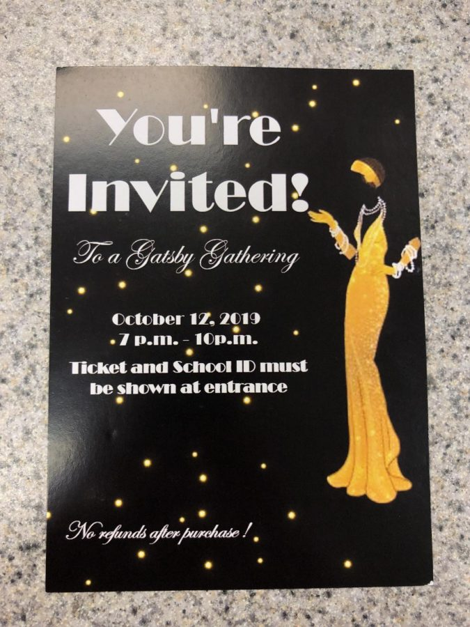 The design on this year's ticket illustrates the fun 1920's theme that the dance will have.