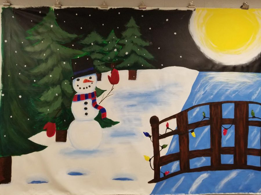 NAHS+created+a+holiday+mural+for+the+Annual+Interscholastic+Holiday+Mural+Art+Competition+at+Miller+Plant+Farm.+The+Dallastown+mural+features+a+snowman%2C+bridge%2C+and+a+sunrise