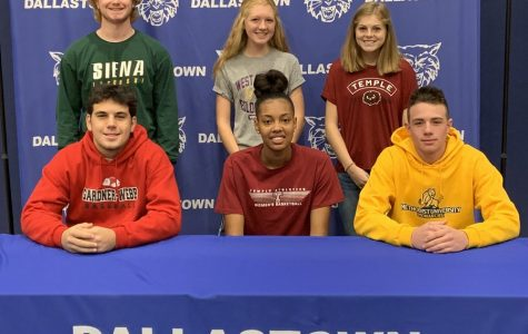 Ethan Eckert, Allie Myers, Emily Schuler, Peter Capobianco, Aniya Matthews, and James Kelly are six Dallastown student athletes who signed Letters of Intent on Nov. 13.  These Dallastown student athletes will be attending college next fall to continue their sports at the collegiate level and further their academic studies.