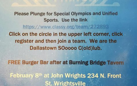 This Dallastown Polar Plunge flyer has important information concerning the date, time, and location of the event.