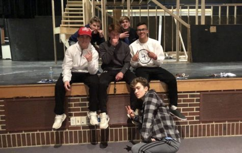 Six of the eight boys competing in Mr DHS during an after school practice.