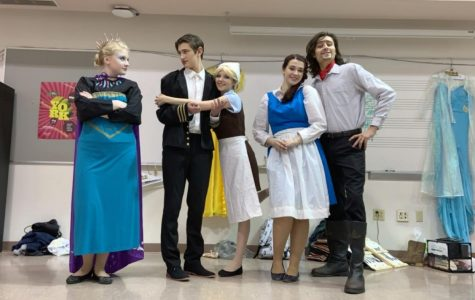 Actors from the Game of Tiaras from left to right are Abi Trembly, Bry Harris, Mackenzie Brooks, Hannah Lancaster, and Logan O'Shea.