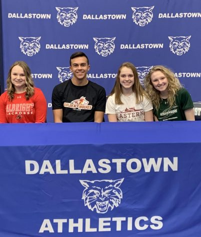 Abbey Alex, Gabe Wunderlich, Abigail Herbert, and Kanann Gemmill are four Dallastown student-athletes who signed National Letters of Intent on Feb. 5. These athletes will be attending college in Fall to continue their sports and further their academic studies.