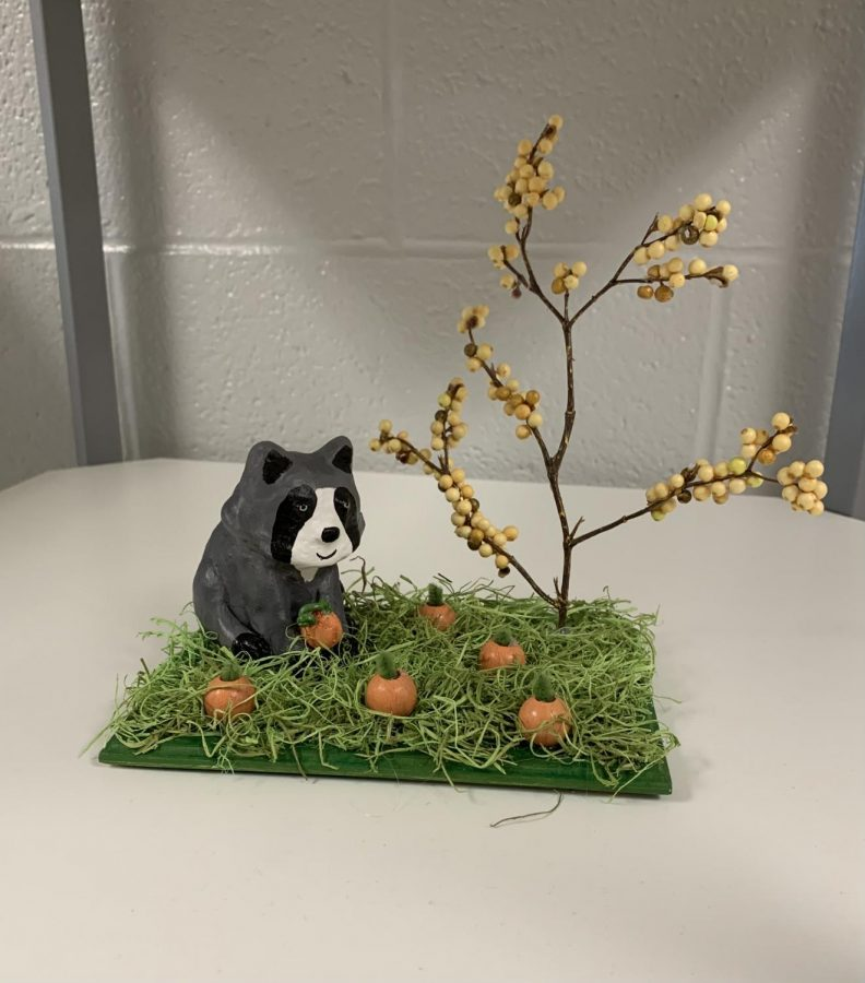 Sculpey projects, above made by Riley Sharp, in Miss. Doyon's sculpture class are still offered in school with some social distancing. As they work tools are sanitized and each student does their best to work independently and not get too close to each other.