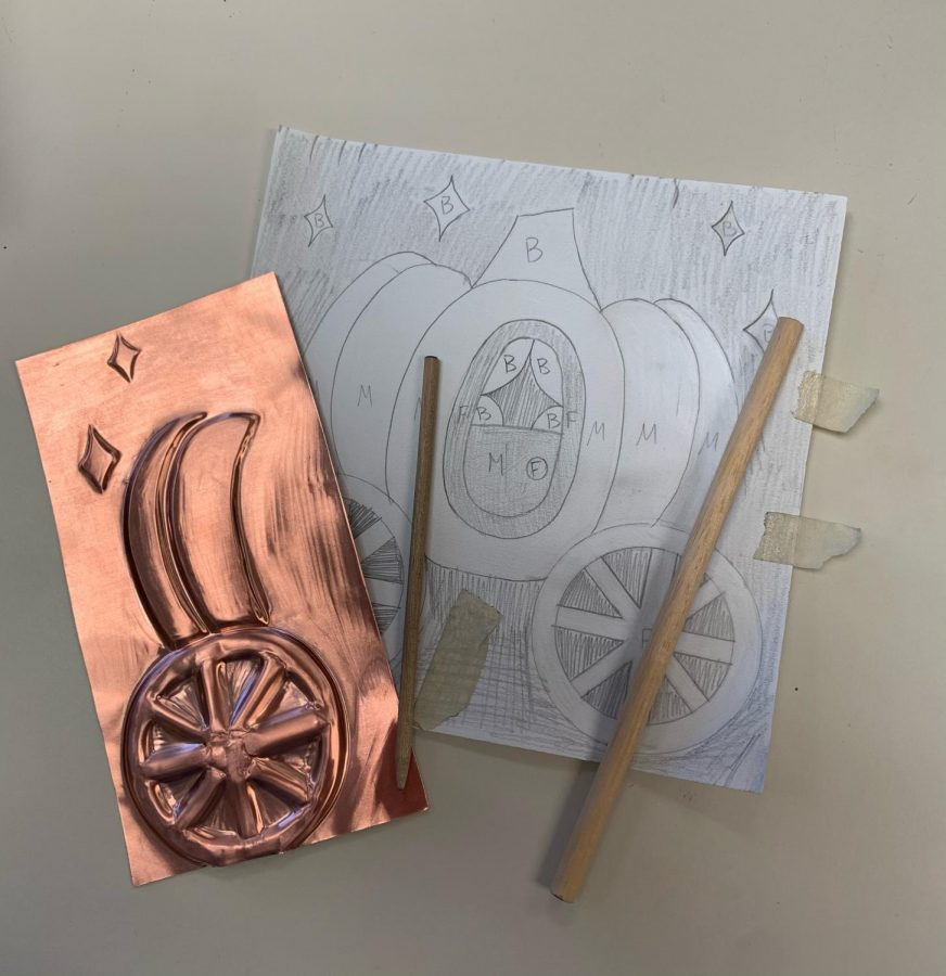 Copper sheet projects (above made by Riley Sharp) remain a part of in-person learning that cannot be recreated at home. In-person classes are attempting to provide students with opportunities to create that still allow for social distancing.