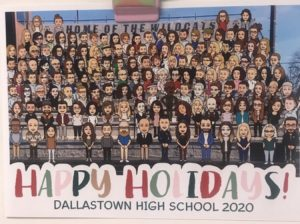 Dallastown's Faculty  Holiday Card for 2020-2021 is a socially distanced, creative alternative to the traditional group photo.