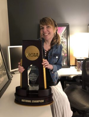Dallastown graduate Michelle (Fabie) Ma poses with the Atlanta 2020 NCAA Championship trophy. The NCAA March Madness was historically cancelled due to the Coronavirus Pandemic, which was the first time the Division I Men's series had been cancelled since its inception in 1939.