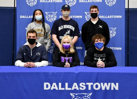 Back row, from left to right is Bria Beverly, Will McDermott, Gavin Flinchbaugh. Front row from left to right is Mitchell Groh, Helen Zardus, and Brooks Gable. They are six Dallastown student-athletes who signed National Letters of Intent on Feb 10. These athletes will be attending college in the Fall of 2021 to continue their sports and further their academic studies.