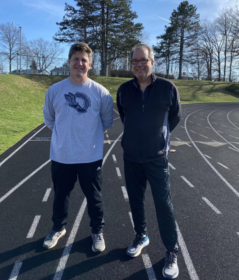 Former head Track and Field Coach Geesey (Right) and current head Coach Gutekunst (Left) together again. They have both received the COVID vaccine shot.
