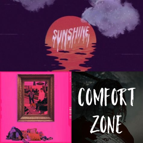 "Collage of cover art including ""Sunshine"" by Overtr, ""Comfort Zone"" by JXS and ""Dreams & Nightmares"" by Logan"