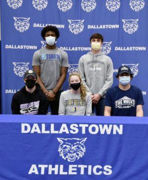 Back row, Jadon Green, Colin Hughes. Front row, Adam DeStefano, Myra Striebig, and Will Borden are six athletes who signed with their college to play at a collegiate level.