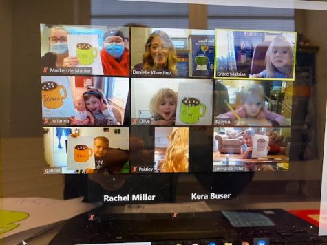 Students teaching their preschool class over zoom.