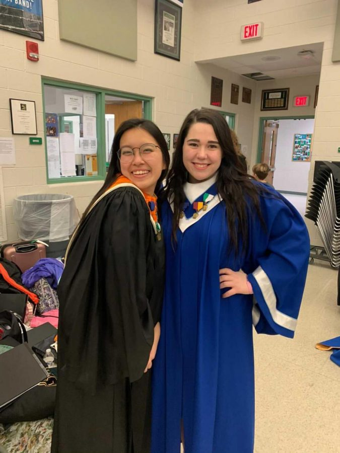 Riley Sharp (right), senior, is one of Dallastown's eight PMEA All-State Musicians. She is a singer (voice part - soprano). She is pictured with An Lai (left), a senior from Central.