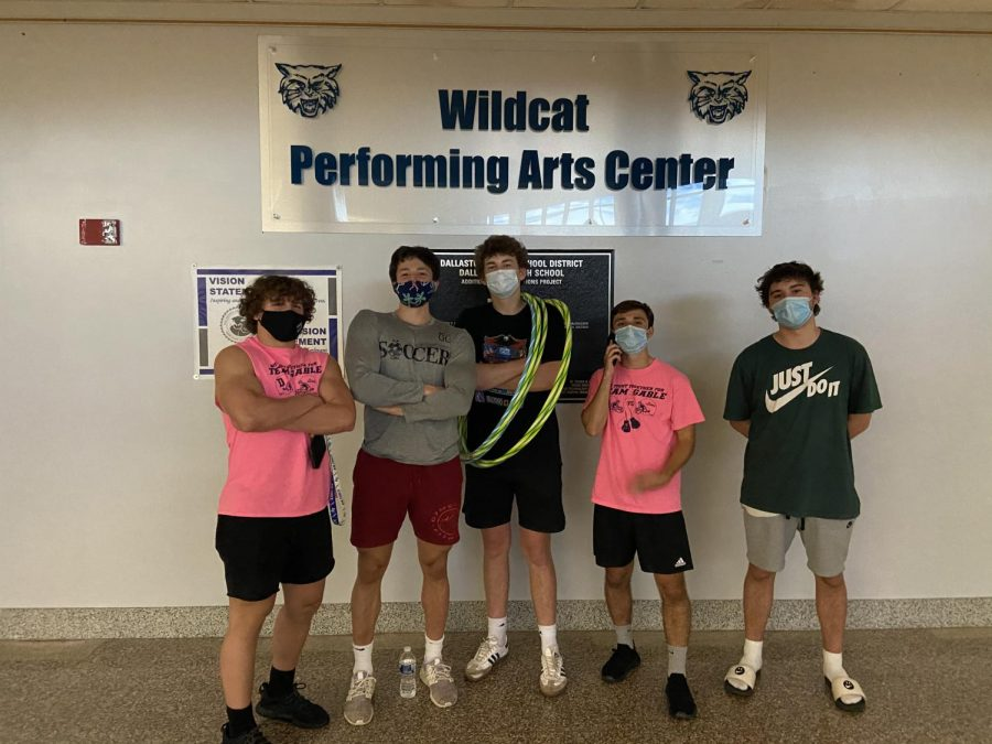 Going from left to right, Gable, Connors, Croson, Mikita, and Patton, take a group picture after an exhausting practice of recording their talents. Gatiru and Lutz were not able to attend.