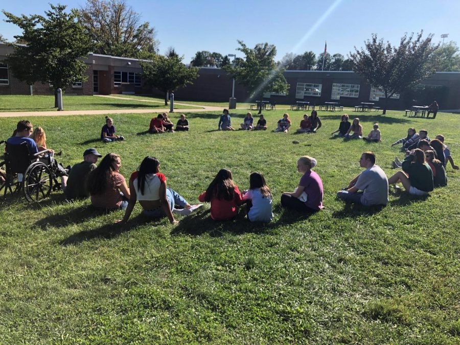 Rosie's class students on a nice day outside enjoying the fresh air.