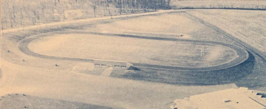 An aerial photo taken of the brand new Dallastown High School football stadium taken in 1959.