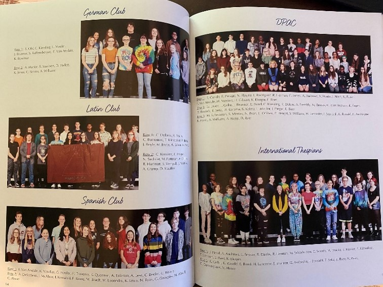Dallastown has over 60 clubs and activities for students to participate in. Pictured here from the 2020 edition of The Spectator are the German Club (top left), Latin Club (middle left), Spanish Club (bottom left), Dallastown Performing Arts Club (DPAC) (top right), and International Thespians (bottom right).