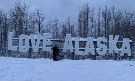 After walking across on a frozen lake we got to the Alaska sign. (Valerie Miranda)